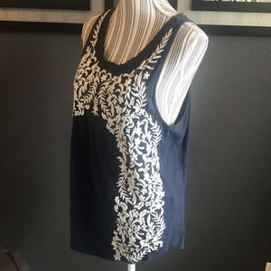 Lucky Brand tank, cream embroidery on front
